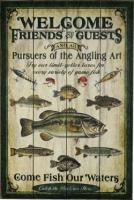 Картина River's Edge Fishing Wood Sign