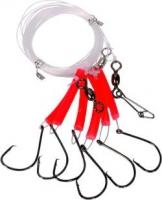 Оснастка для морской рыбалки SAENGER AQUANTIC Redfish System Circle Hook 6.00m 8/0 Fluo red